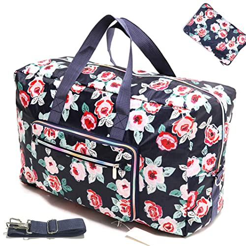 Womens Foldable Travel Duffel Bag 50L Large Cute Floral Travel Bag Weekender Overnight Carry On Bag Checked Luggage Tote Bag For Girls Kids