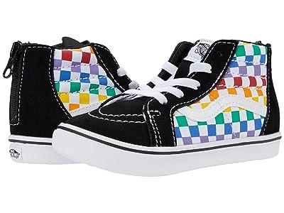 Vans Kids ComfyCush SK8-Hi Zip (Infant/Toddler) ((Checkerboard) Rainbow/True White) Girl