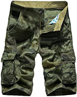 Sunyastor Camouflage Short Pants for Men,Mens Loose Fit Cargo Shorts Camo Multi Pockets Summer Outdoor Wear Beach Work Pants