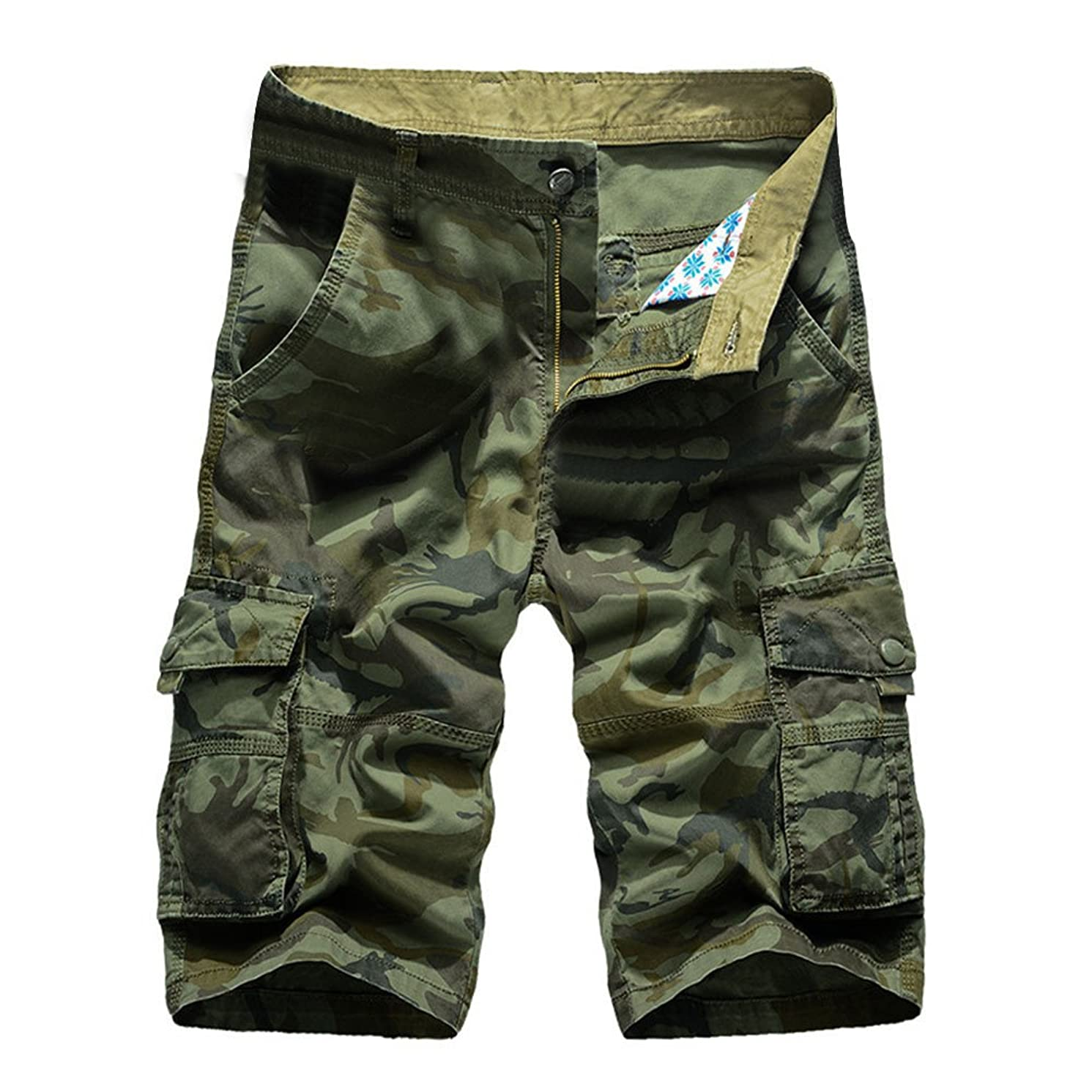 JJLIKER Mens Lightweight Multi Pocket Casual Cargo Shorts Big and Tall Pants Cotton Relaxed Fit Outdoor