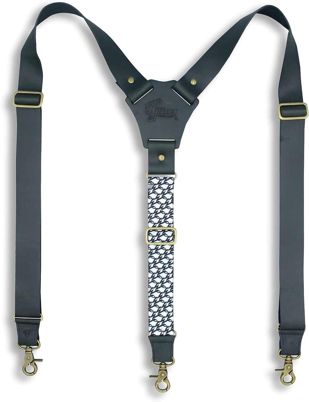 Suspenders Billy The Kid Dark Brown Leather Wide 1.36 inch   Wiseguy Original