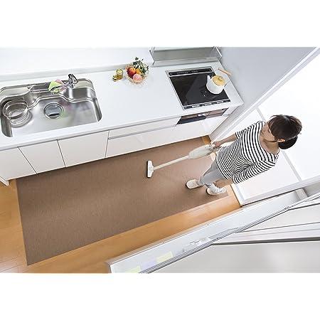 【日本製 撥水 消臭 洗える】サンコー キッチンマット ずれない 台所マット ロング 90×240cm ブラウン おくだけ吸着 KH-87