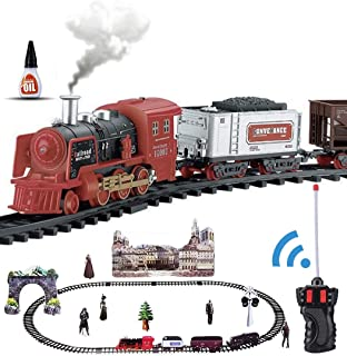 Haktoys RC Classical Train Set, Battery Operated Ready to Play, Steam Locomotive with LED Lights, Realistic Sound Effects & Smokes, Bonus Figurine Pack, Radio Remote Controlled Simulation, Great Gift