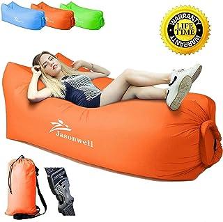 Jasonwell air lounger impermeabilizan el sofá inflable portable del aire con mochila no necesita la bomba de aire camastros para alberca cama de interior al aire libre para dormir para alberca,camping,playa,pesca(Naranja)