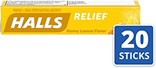 Halls Honey Lemon Cough Drops - with Menthol - 180 Drops (20 sticks of 9 drops)