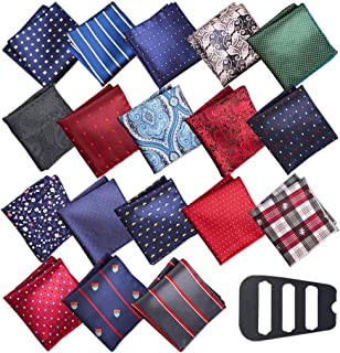 Pocket Square Handkerchief Cooyeah 18 Pack Men's Handkerchief,Silk Pocket Squares Sets Vintage Hankies For Men Wedding Wit...