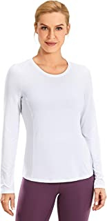 CRZ YOGA Women's Loose Fit Yoga Shirts Long Sleeves Soft Running Clothes Mesh Back Workout Tops