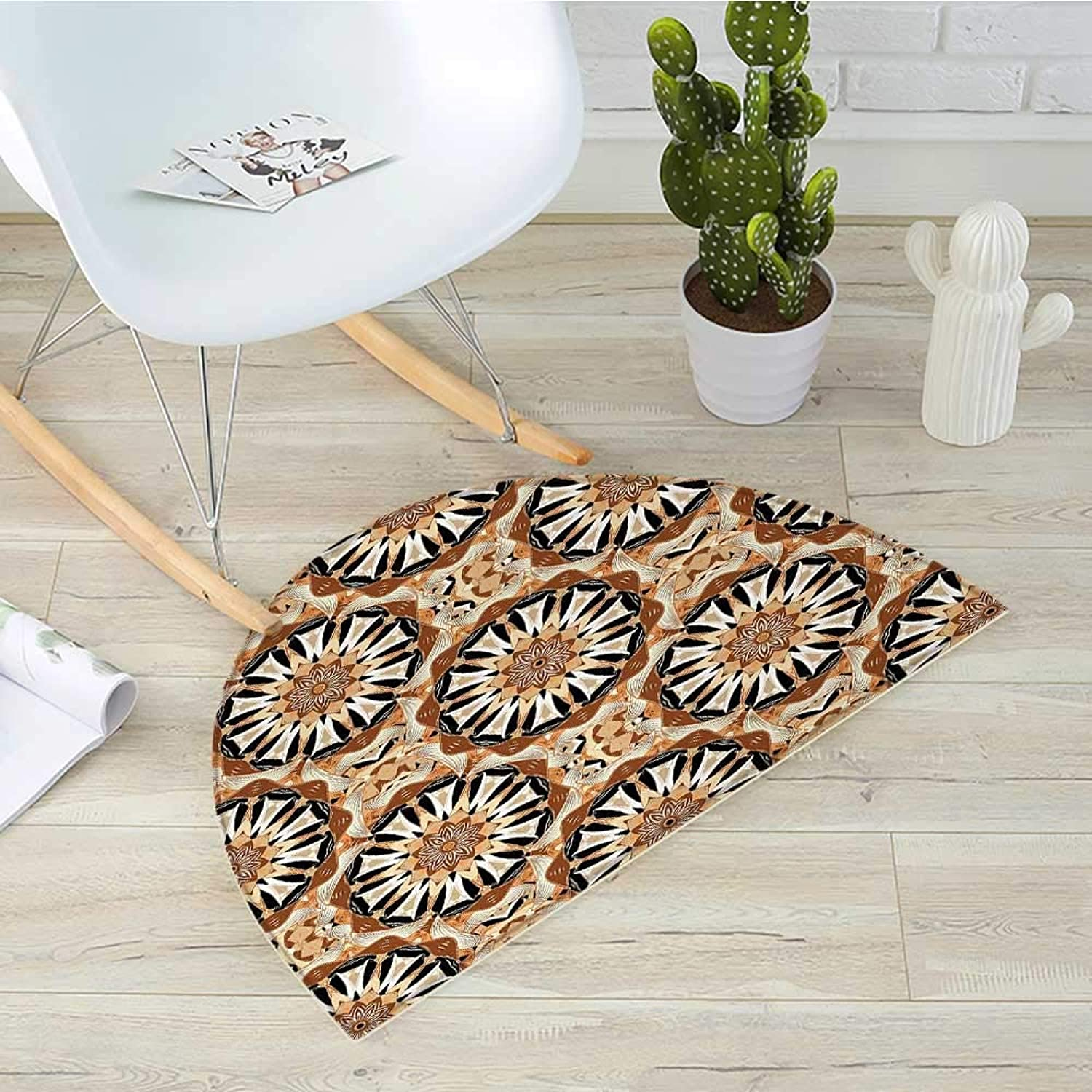 Tan and Brown Half Round Door mats Oriental Style Figure with Traditional Elements Mandala Inspired Floral Bathroom Mat H 51.1  xD 76.7  Tan Brown Black