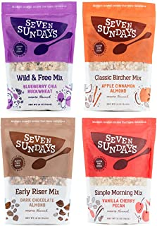 Seven Sundays Muesli Cereal 4-Flavor Variety Pack {12 oz. pouches, Pack of 4 ) | Gluten Free Certified | Non GMO | Kosher
