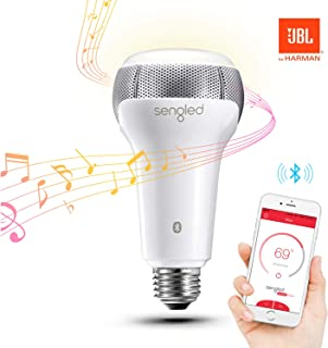 Sengled Solo Bluetooth JBL Speaker Light Bulb Dual Channel Dimmable LED App Controlled 60W Equivalent Smart Music Bulb, Wh...