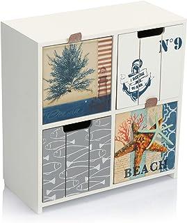 com-four® Mini cajonera con 4 cajones - gabinetes de Madera con diseño marítimo - Mini gabinete para Guardar Joyas cosmét...