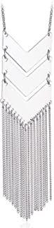 Chevron Three V Shaped Long Chain Pendant Necklace with Tassel