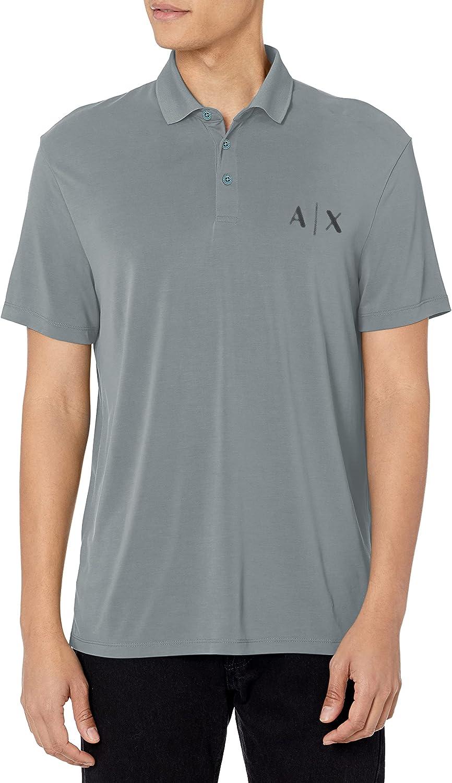 AX Armani Exchange Men's Modal Bargain Knit Polo Logo Shirt Elegant Faded