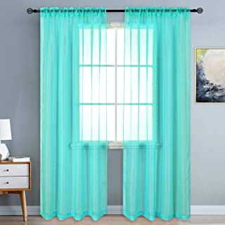 KEQIAOSUOCAI Sheer Turquoise Curtains 84 inch Length Rod Pocket Semi Voile Panels Sheers Drapes for Bedroom Bed Canopy Curtains 52 Inch x 84 Inch Set of 2
