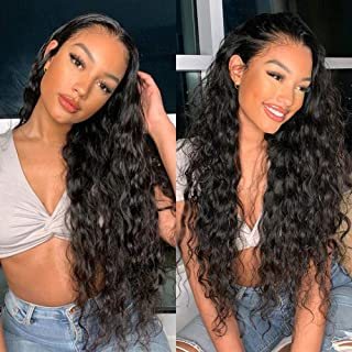360 Water Wave Wigs Lace Frontal Wig Pre Plucked with Baby Hair Water Curly Wig Brazilian Virgin Remy Human Hair Wigs Wet and Wavy Human Hair Wig for Black Women 150% Density (22 Inch, Natural Color)
