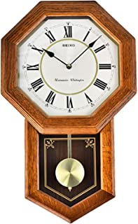 Pendulum Wall Clock Grandfather Wall Clock, with Every Hour Westminster Music/Wellington Battery Operated Schoolhouse Cloc...