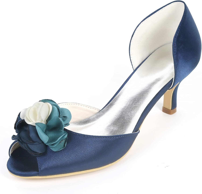 AIMIschuhe Schuhe Frau Peep Toe High Heel Brautjungfer Pumps Satin Abend Prom Hochzeit Brautschuhe