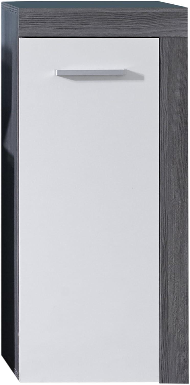 Trendteam Badezimmer Kommode Schrank Miami, 36 x 81 x 31 cm in Korpus Rauchsilber Dekor, Front Wei mit viel Stauraum