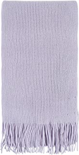 Unisex 100 Percent Cashmere Plain Knit Scarf With Fringe. Made In Scotland-Lilac Frost