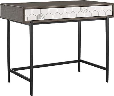 CosmoLiving by Cosmopolitan Olivia Computer Oak Desk, Gray (Wood Grain)