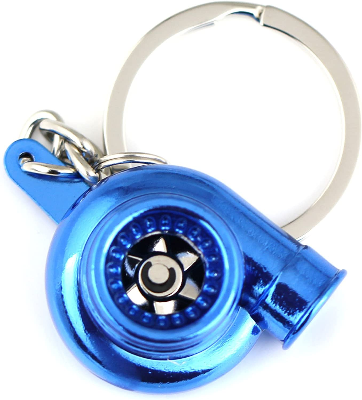 Maycom Creative Spinning New Turbo Turbocharger Keychain Key Chain Ring Keyring Keyfob (Anodized Blue)