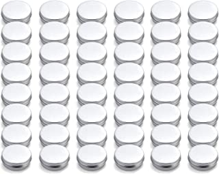 Tosnail 48 Pack 2 oz. Aluminum Round Lip Balm Tin Containers with Screw Thread Lid - Great for Spices, Candies, Tea or Gift Giving