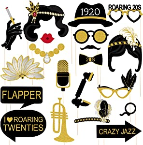 Amosfun 1920s Party Photo Booth Props 20pcs with Wooden Sticks Creative Funny Glitter Photo Props 1920 Theme Party Supplies(Black Gold)