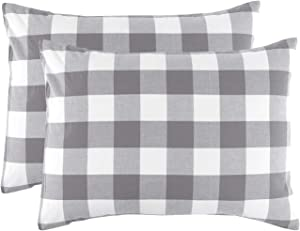 Wake In Cloud - Pack of 2 Pillow Cases, 100% Washed Cotton, Grey Gray White Buffalo Checker Gingham Geometric Plaid Printed Comfy Soft Pillowcases (Standard Size, 20x26 Inches)