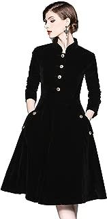 Women's Vintage Long Sleeves Velvet Button Up Swing Midi Dress Autumn/Winter