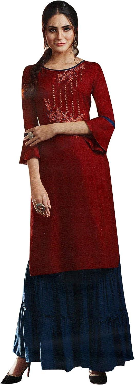 ladyline Plain Rayon Embroidered Womens Set with Omaha Mall Sharara Soldering P Kurti