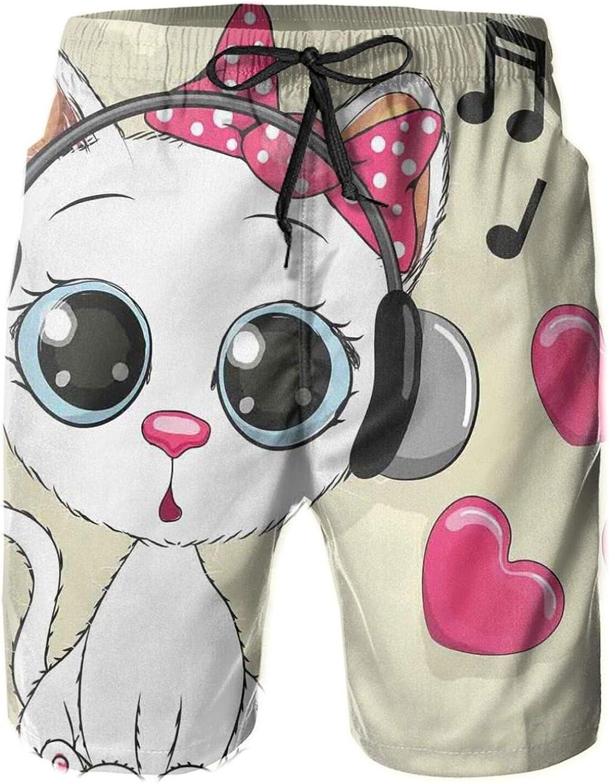 Cartoon Kitty with Headphones Heart Bubbles and Musical Tunes Big Eye Animal Drawstring Waist Beach Shorts for Men Swim Trucks Board Shorts with Mesh Lining,XXL