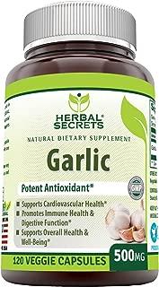 Herbal Secrets Garlic 500 mg 120 Veggie Capsules
