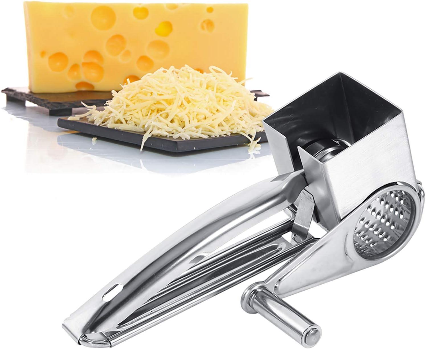 LANTRO JS - Rallador de queso giratorio, rallador de queso de acero inoxidable multifuncional para manualidades de cocina para queso, verduras, chocolate