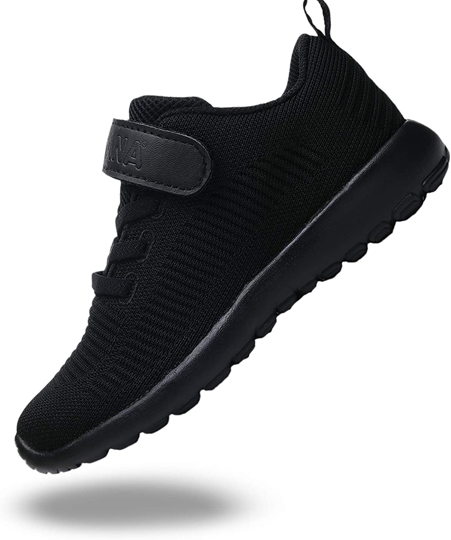 Black Kids Sneaker Lightweight Breathable Running Tennis Boys Girls Shoes Knitted Mesh Upper Rubber Soles