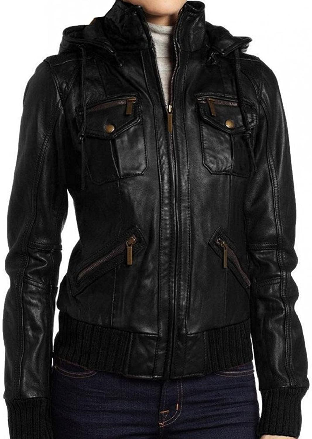 The Leather Factory Women's Lambskin Detachable Hooded Leather Bomber Jacket