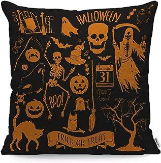 WONDERTIFY Halloween Decoration Set Throw Pillow Cover Pumpkin Scary Ghost Cat Tree Skeleton Skull Owl Elements Soft Linen...