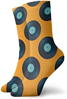 Vintage Geometric Vinyl Records Pattern Socks Colorful Cool Sport Athletic Calcetines For Men & Women