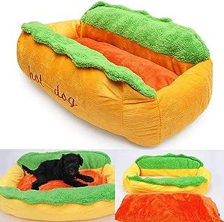 Leoie Pet Bed, Washable Cotton Hot Dog Shape Kennel Cat Dog Nest Puppy House Warm Mat Cushion Pad