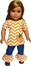 Brittany's Fall Pumpkin Denim Outfit with Shoes Compatible with American Girl Dolls- 18 Inch Doll Clothes