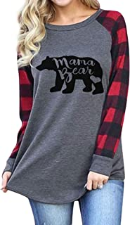 Womens Casual Plaid Long Sleeve Mama Bear Letter Print T-Shirts Tops
