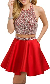 LeoGirl Women's Sparkly Crystal Beaded Short 2 pc Prom Dress W/ Pockets Homecoming Party Dress