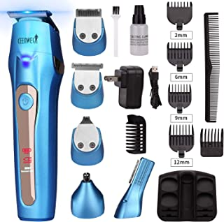 Ceenwes 5 In 1Mens Grooming Kit Professional Beard Trimmer Rechargeable Hair Clippers Multi-purpose Mustache Trimmer Waterproof Nose& Ear Body Trimmer For Men Father Husband Boyfriend