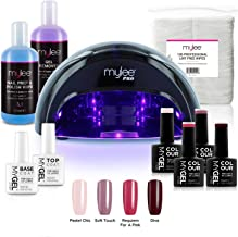 Mylee Complete Professional Gel Nail Polish LED Lamp Kit, 4x MyGEL Colours, Top & Base Coat, Mylee PRO Salon Series Convex Curing® LED Lamp, Prep & Wipe, Gel Remover and more (Kit with Black Lamp)