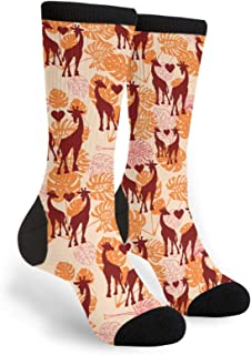Giraffe Love Heart Leaves Men Women Casual Socks Funny Funky Novelty Crew Tube Socks