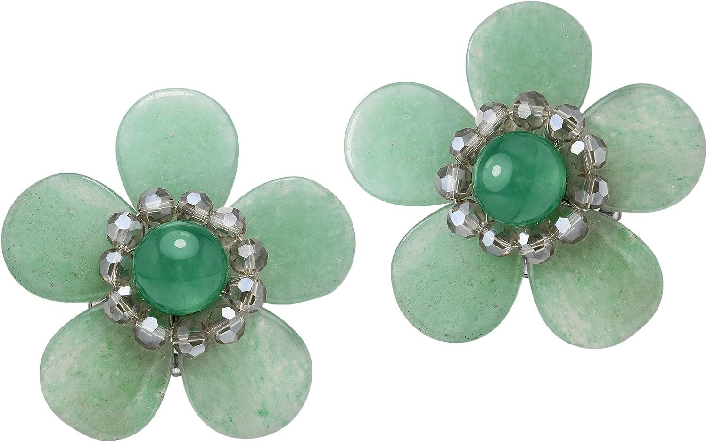 Elegantly Colorful Seafoam Simulated Green Quartz Flower Clip On Earrings