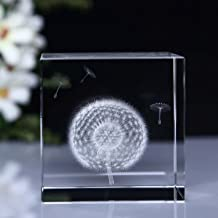 Mylifestyle 3D Dandelion Paperweight(Laser Etched) in Crystal Glass Cube Birthday/Graduation Gifts(2.4x2.4x2.4