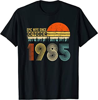 34th Wedding Anniversary Gifts Wife Since October 1985 T-Shirt