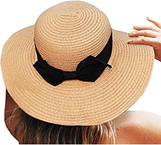 Proboths Women Lightweight Foldable Sun Beach Hat Decorative Bow Wide Brim Straw Hat