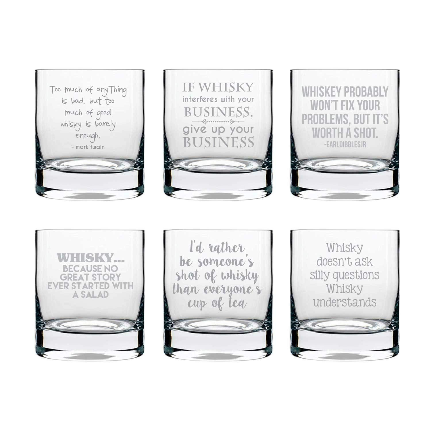 Yaya Cafe 325ml Engraved Whiskey Glass Clear Set Of 6 Amazon In Home Kitchen