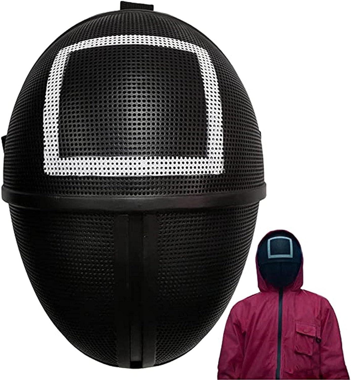 Shenrongtong Juego de Calamar Cubierta Facial Juego de Calamar Cubierta Facial Hombre Enmascarado 2021 TV Metal Exquisita máscara de Cara Completa para Fiesta de Juegos